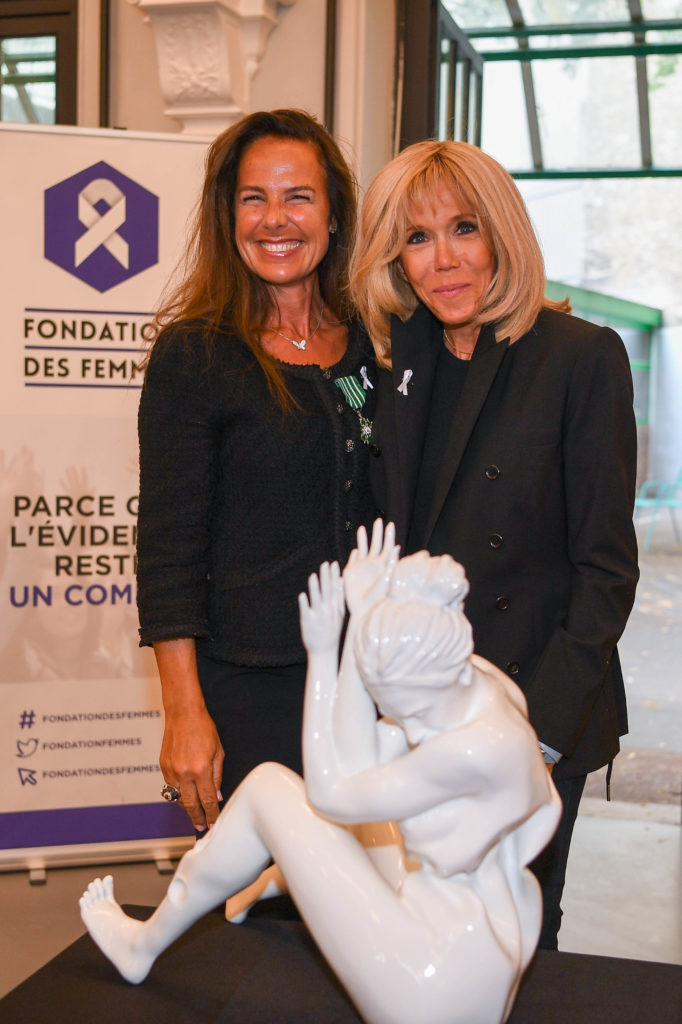 """Inauguration ceremony of the Wrapping sculpture """"women and violence"""" created by Laurence Jenkell for the Women's Foundation (Paris)"""